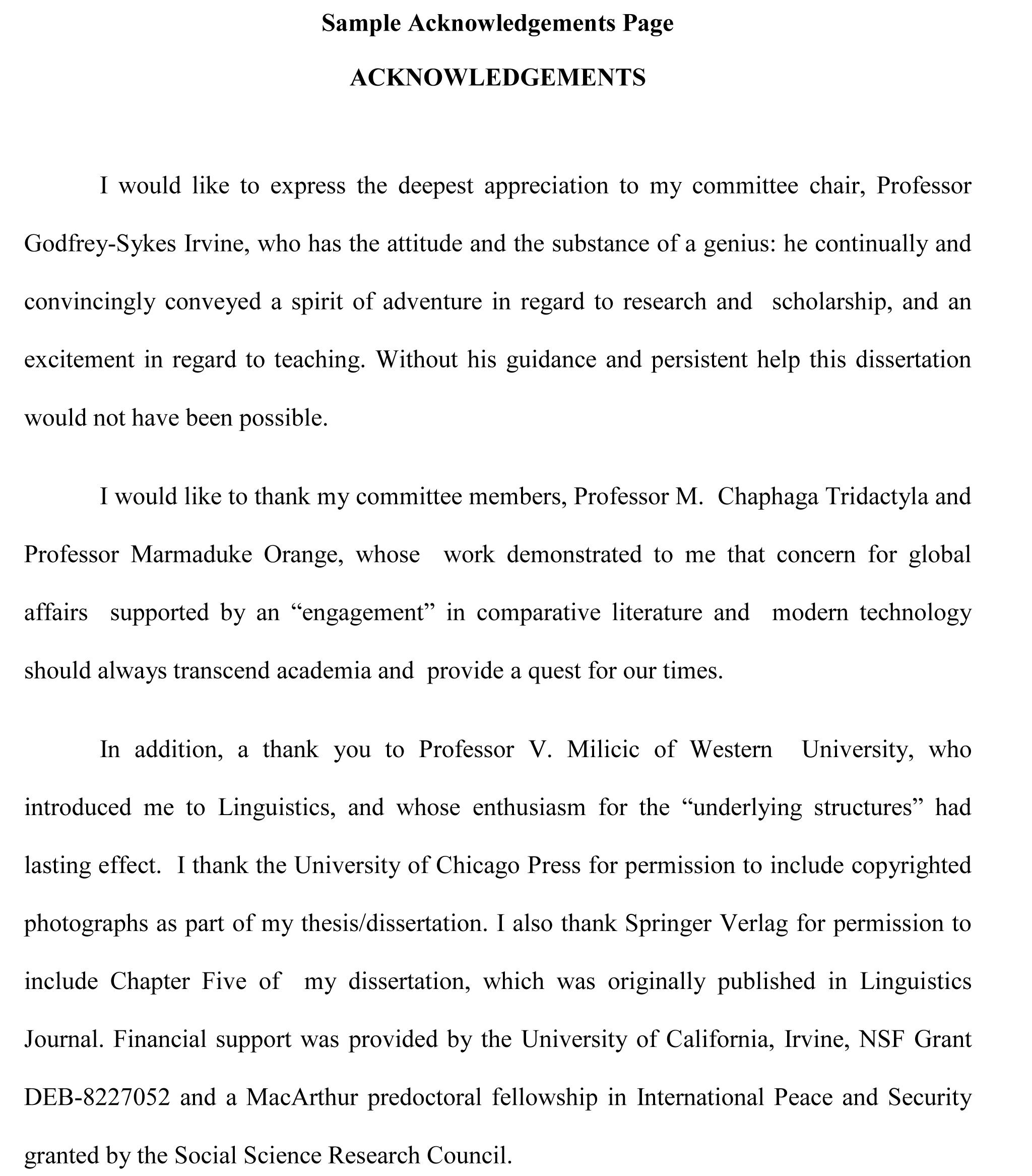Dissertation acknowledegment